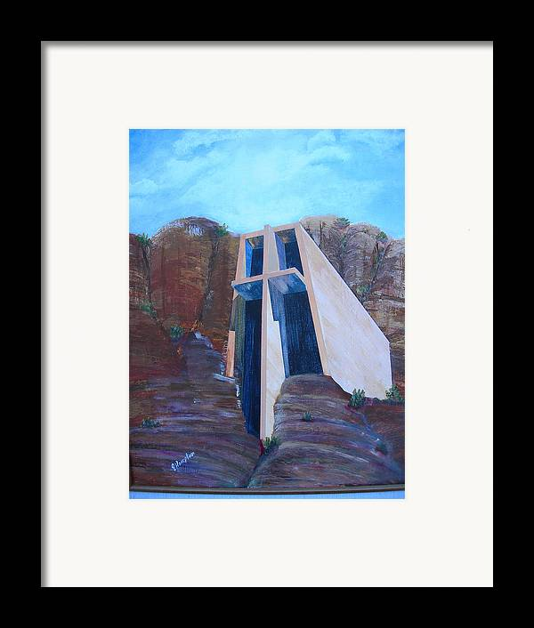 Landscape Framed Print featuring the painting Chapel In The Mountains by Jack Hampton