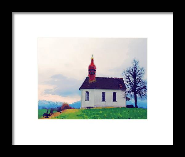 Landscape Framed Print featuring the photograph Chapel On A Hill by Chuck Shafer