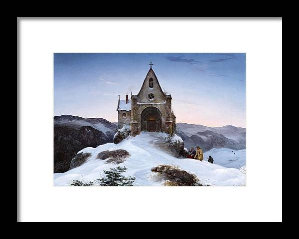 Ernst Ferdinand Oehme Framed Print featuring the painting Chapel On A Mountain In Winter by Ernst Ferdinand Oehme