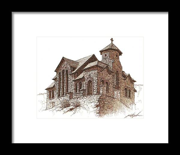 Church Framed Print featuring the drawing Chapel On The Rock by Larry Prestwich