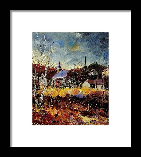 Landscape Framed Print featuring the painting Chapelle D'havenne by Pol Ledent
