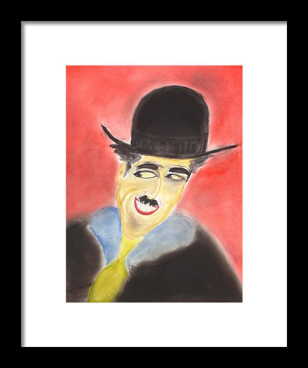 Cinema Film Framed Print featuring the painting Chaplin by Roger Cummiskey