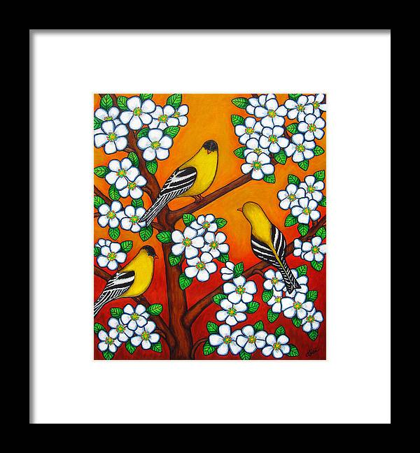 Goldfinch Framed Print featuring the painting Chardonnay Sunset by Lisa Lorenz