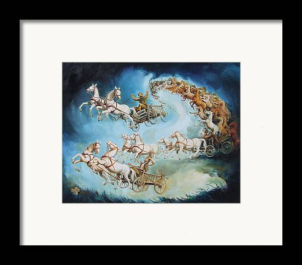 Horse Framed Print featuring the painting Chariots In Storm by Gabor Urban