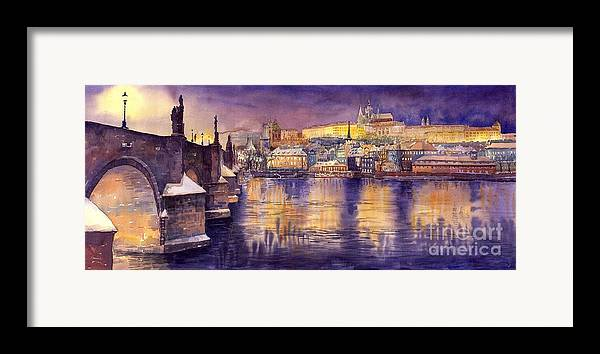 Cityscape Framed Print featuring the painting Charles Bridge And Prague Castle With The Vltava River by Yuriy Shevchuk