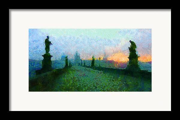 Charles Bridge Framed Print featuring the painting Charles Bridge At Dawn by Peter Kupcik