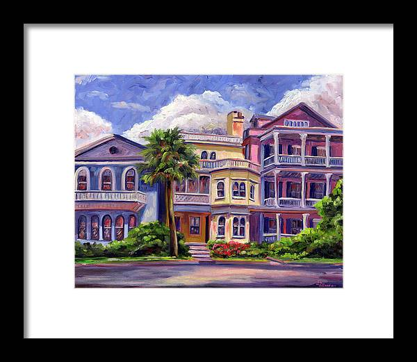 Colorful Historic Houses On The Charleston South Battery With Pastel Color And Blue Skies.. Framed Print featuring the painting Charleston Houses by Jeff Pittman