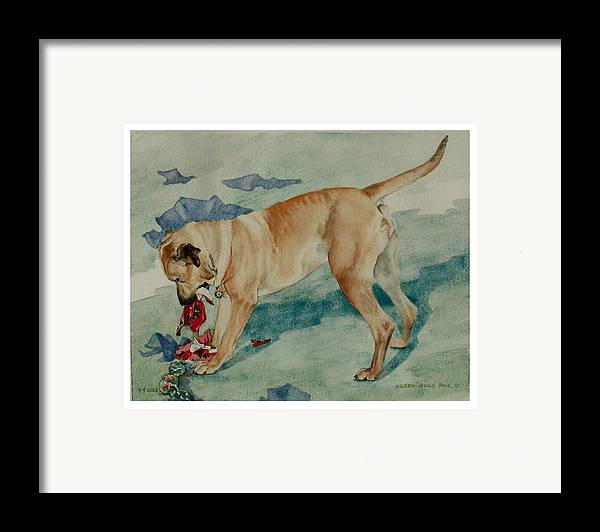 Portrait Framed Print featuring the painting Charley Invents A Christmas Game by Eileen Hale