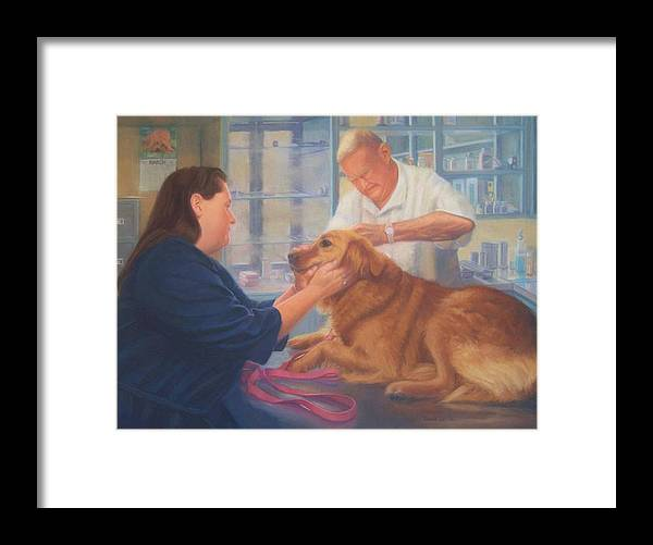 Charlie Framed Print featuring the painting Charlie and the Vet by Diane Caudle