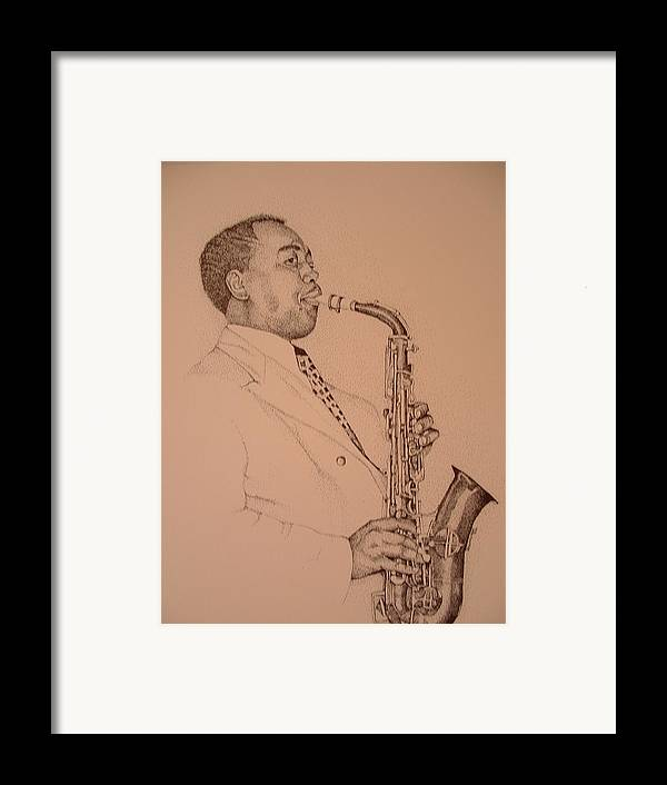 Sax Player Framed Print featuring the drawing Charlie Parker by Leonard R Wilkinson