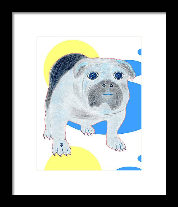 Dogs Framed Print featuring the painting Charlie The Bulldog by Tess M J Iroldi