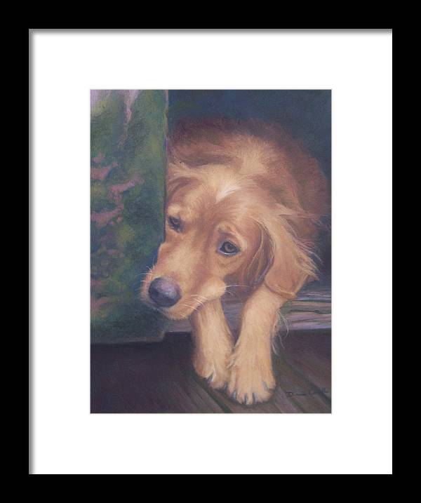 Charlie Framed Print featuring the painting Charlie's In The Doghouse by Diane Caudle