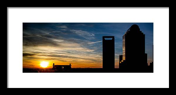 Charlotte Framed Print featuring the photograph Charlotte Silhouette Sunset by Christine Buckley