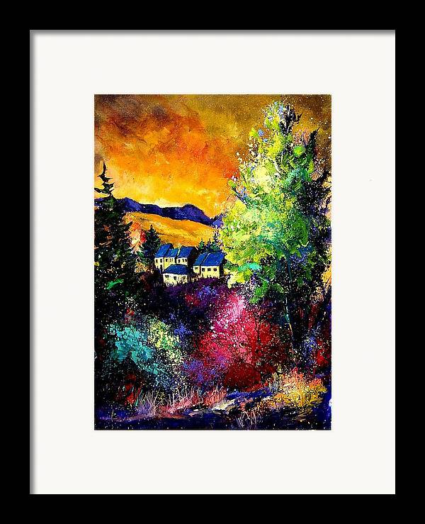 Landscape Framed Print featuring the painting Charnoy by Pol Ledent