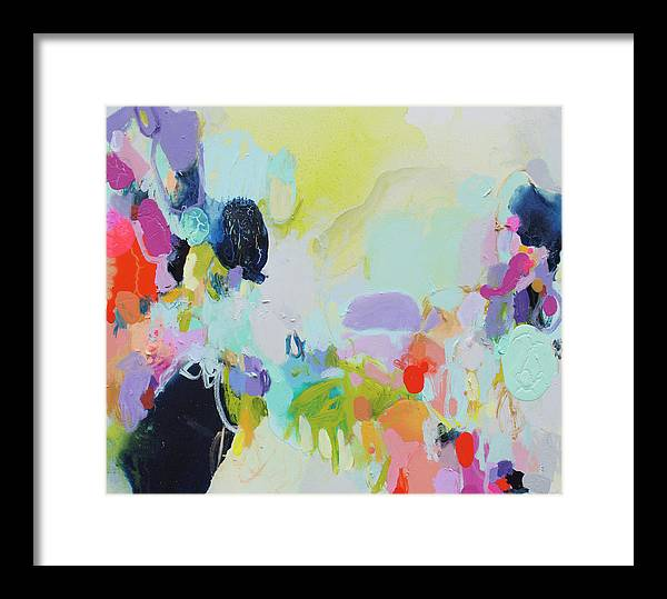 Abstract Framed Print featuring the painting Chartreuse Stop by Claire Desjardins