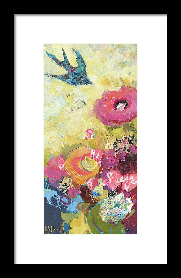 Flowers Framed Print featuring the painting Chasing Joy by Shelli Walters
