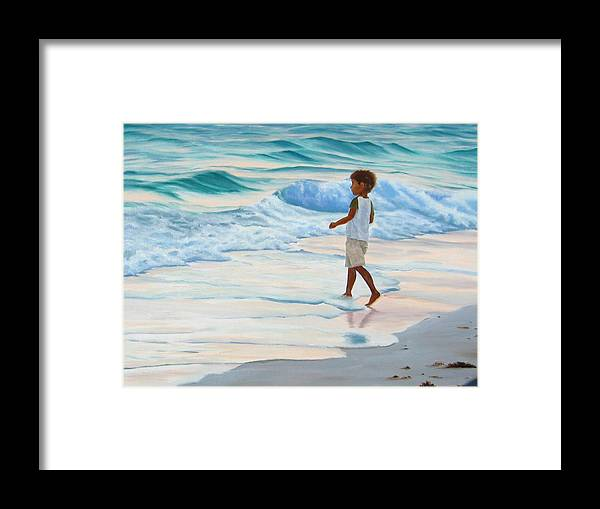 Child Framed Print featuring the painting Chasing the Waves by Lea Novak