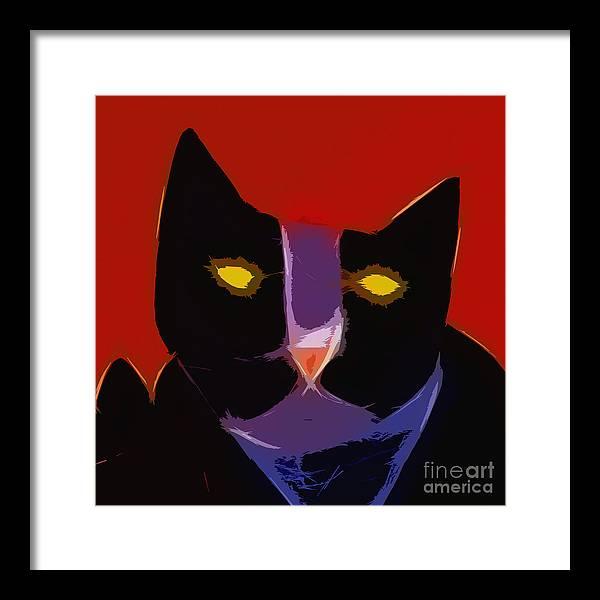 Cat Art Framed Print featuring the digital art Chat Noir by Lutz Baar