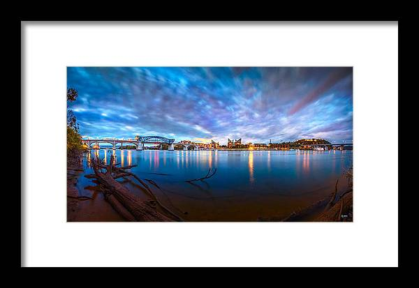 Chattanooga Framed Print featuring the photograph Chattanooga Riverfront At Dawn by Steven Llorca