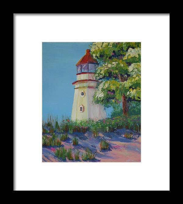 Lighthouse Framed Print featuring the painting Cheboygan Lighthouse by Art Nomad Sandra Hansen