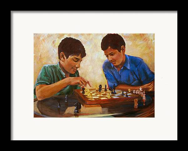 Chess Framed Print featuring the painting Check by Art Nomad Sandra Hansen