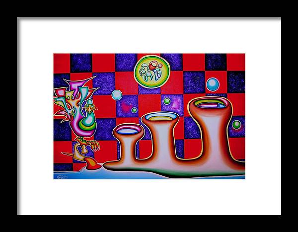 Fantasy Framed Print featuring the painting Checker Bird Square by      Gillustrator