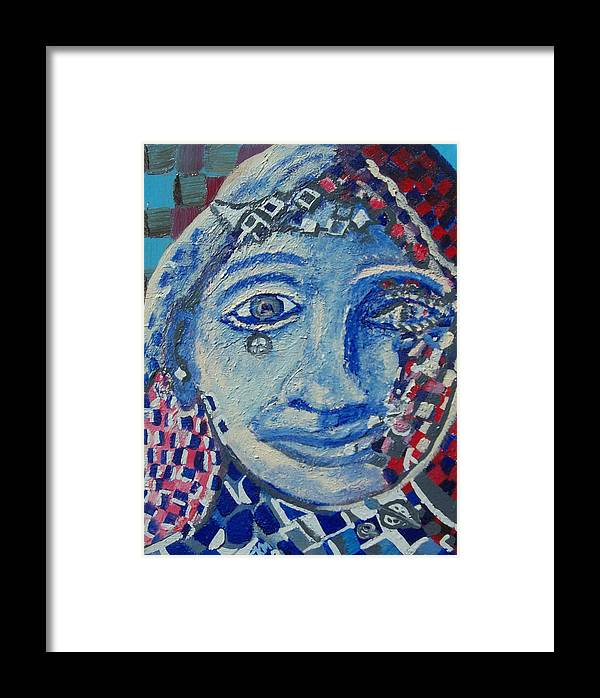 Woman Framed Print featuring the painting checkered Queen by Jennifer K Machado