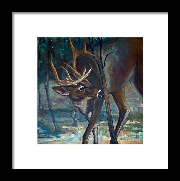 Acrylic Framed Print featuring the painting Checking A Rub by Suzanne McKee