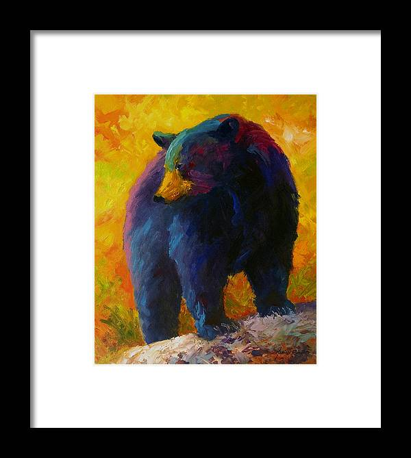 Western Framed Print featuring the painting Checking The Smorg - Black Bear by Marion Rose