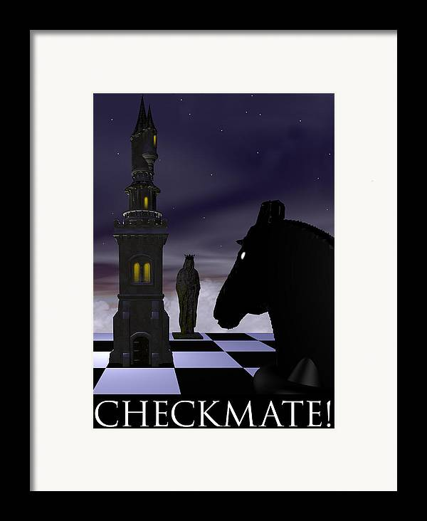 Abstract Framed Print featuring the digital art Checkmate by David Griffith
