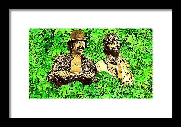 Cheech And Chong In The Garden Of Eden Framed Print by Pd