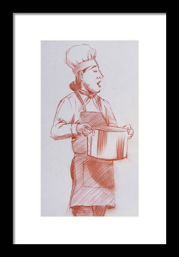 Male Framed Print featuring the drawing Chef 6 by Markus Neal Humby