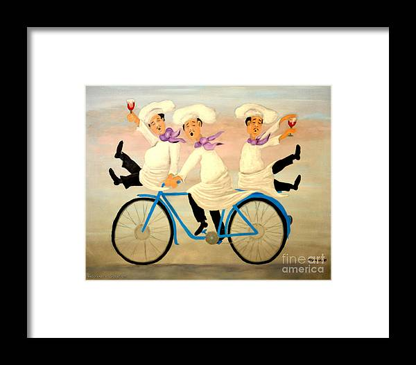 Singing Chefs Framed Print featuring the painting Chefs On A Bike by Barney Napolske