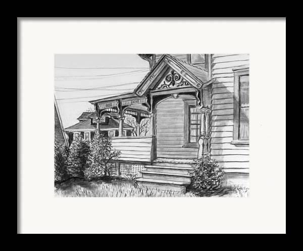 House Framed Print featuring the drawing Chenango Street Binghamton Ny by John Clum