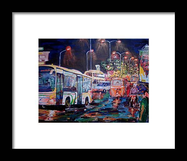 Chennai Framed Print featuring the painting Chennai Traffic by Narayan Iyer