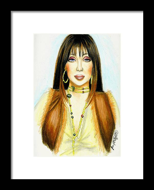Woman Framed Print featuring the drawing Cher by Scarlett Royal