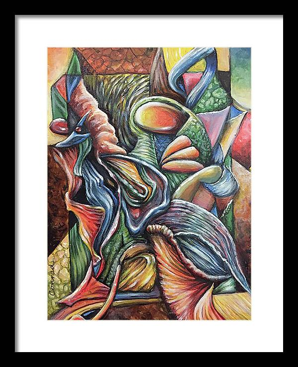 Bright Colorfull Abstract Painting Acryl Framed Print featuring the painting Cherida by Conrad Van Zelst