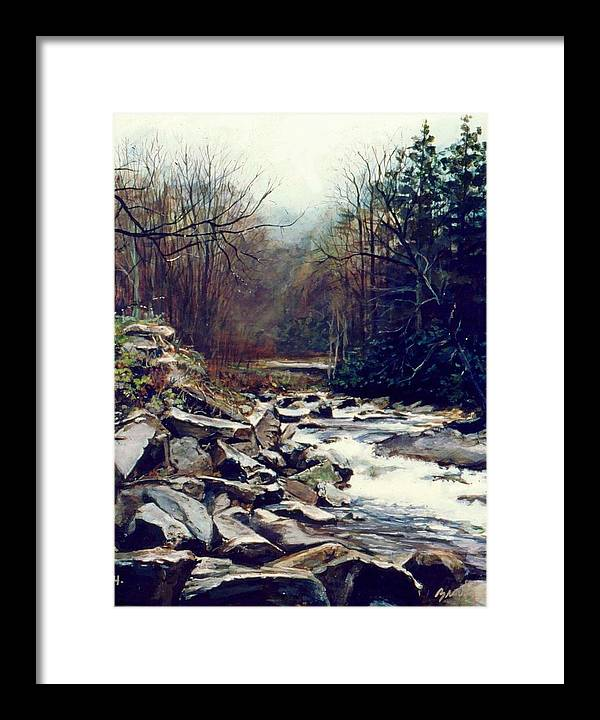 Landscape Framed Print featuring the painting Cherokee Stream by William Brody