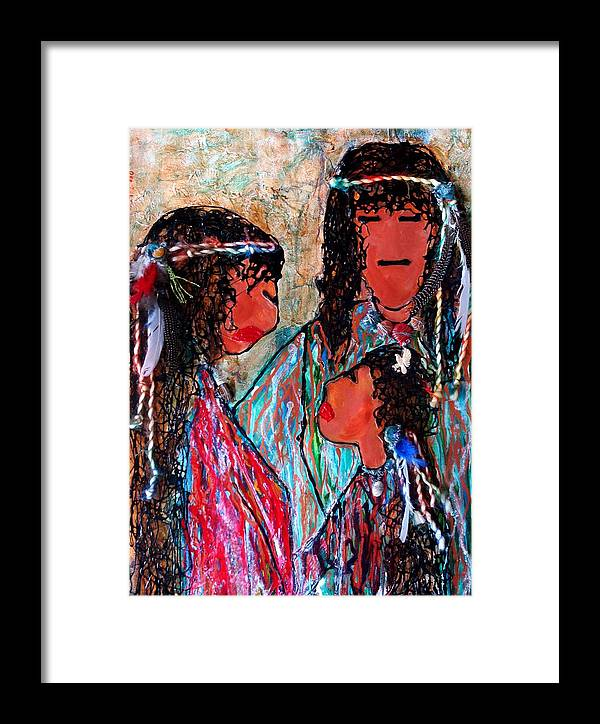 Native American Framed Print featuring the painting Cherokee Trail Of Tears Brave Family by Laura Grisham