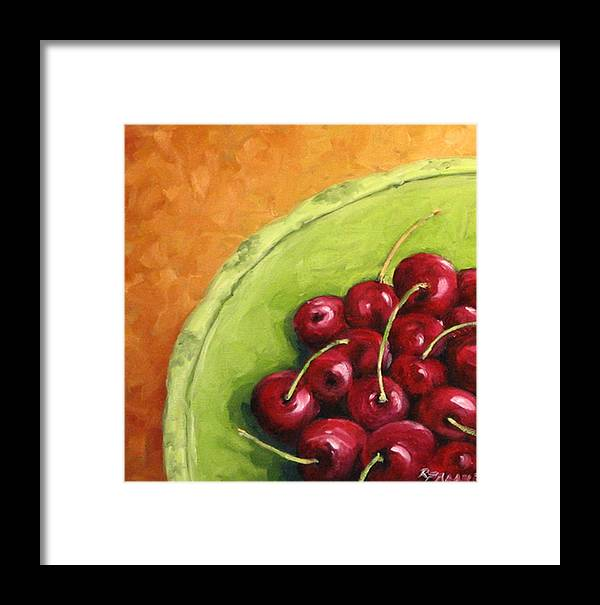Art Framed Print featuring the painting Cherries Green Plate by Richard T Pranke