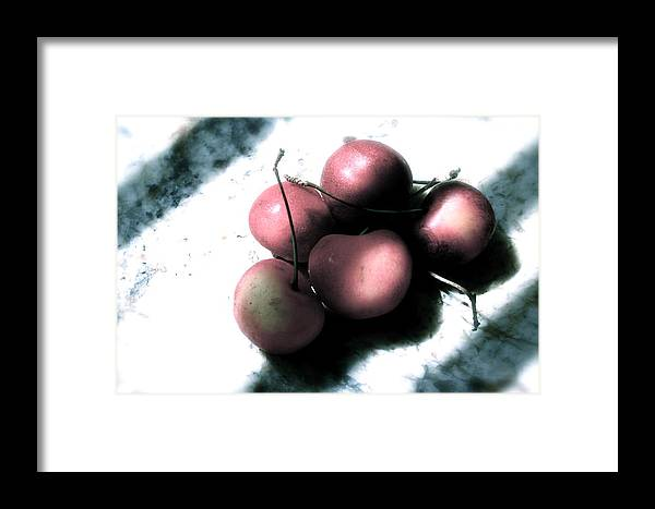 Cherries Framed Print featuring the photograph Cherries In The Light by Sherry Klander