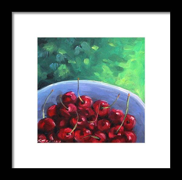 Art Framed Print featuring the painting Cherries On A Blue Plate by Richard T Pranke