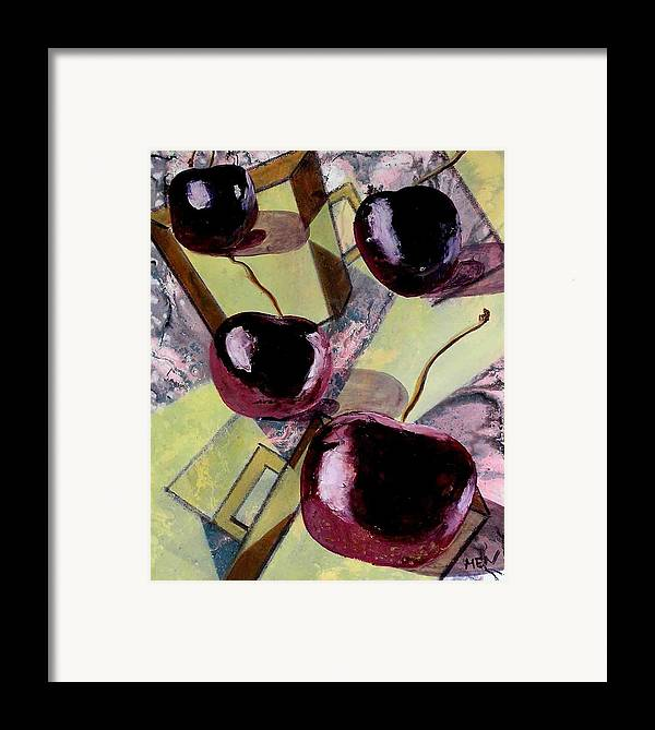 Cherries Framed Print featuring the painting Cherries On Flat Homeware by Evguenia Men