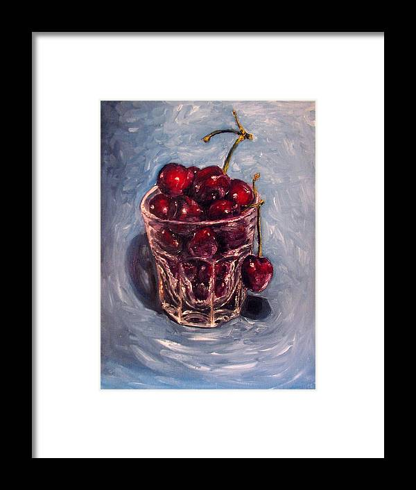 Red Framed Print featuring the painting Cherries Original Oil Painting by Natalja Picugina