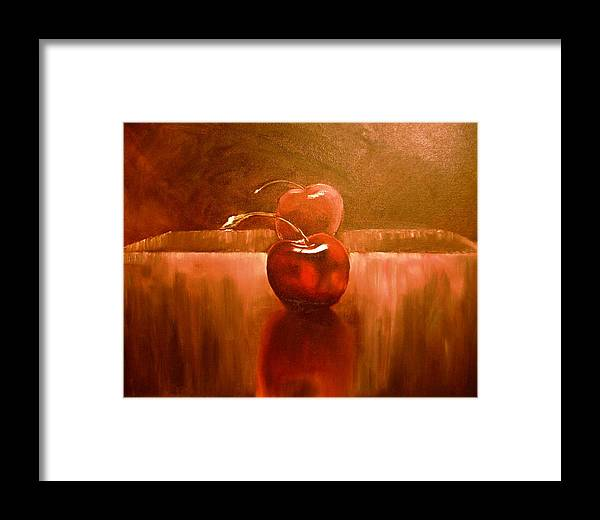 Cherry Art Framed Print featuring the painting Cherry 23 Revised by Ruben Barbosa