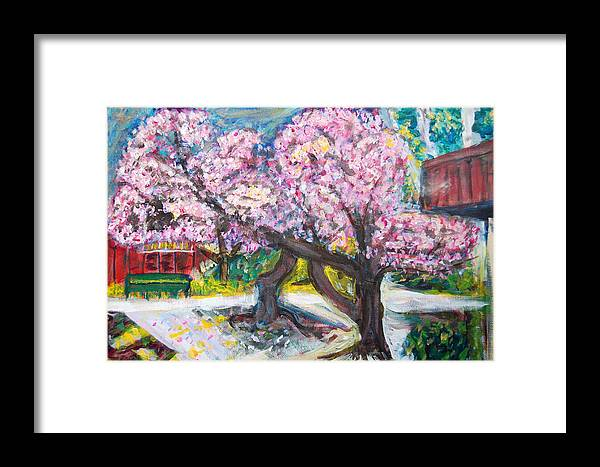 Cherry Tree Framed Print featuring the painting Cherry Blossom Time by Carolyn Donnell