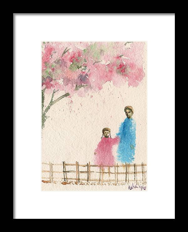 Figurative Framed Print featuring the painting Cherry Blossom Tree Over The Bridge by Asha Sudhaker Shenoy