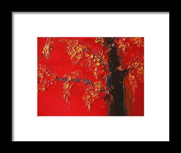 Landscape Framed Print featuring the painting Cherry Blossom Tree - Red Yellow by Patricia Awapara
