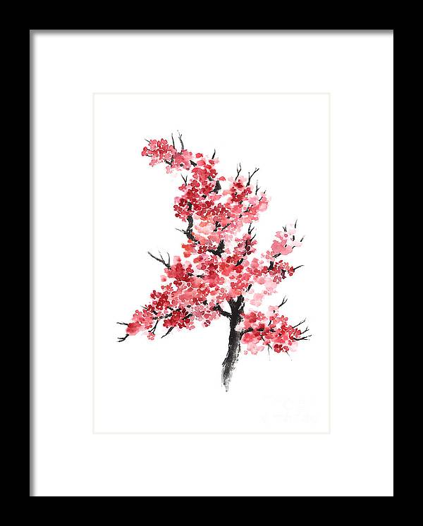 Cherry Blossom Framed Print featuring the painting Cherry Blossom Watercolor Poster by Joanna Szmerdt