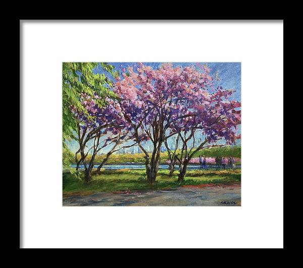 New York Landscape Framed Print featuring the painting Cherry Blossoms, Central Park by Peter Salwen